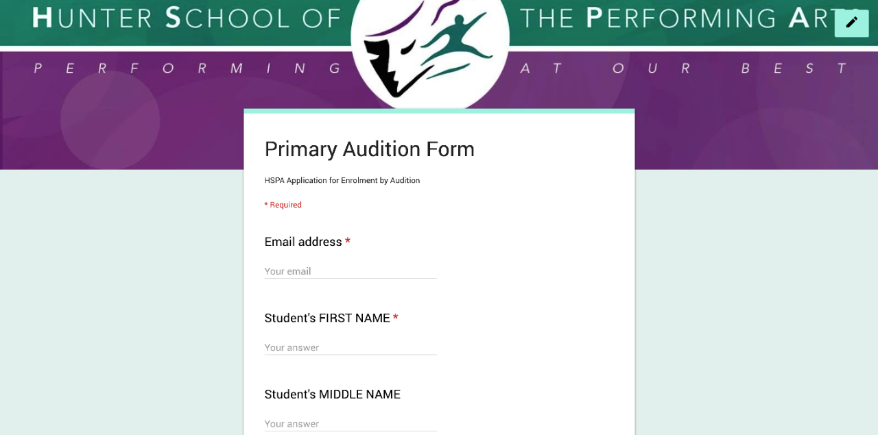 sample of online audition form