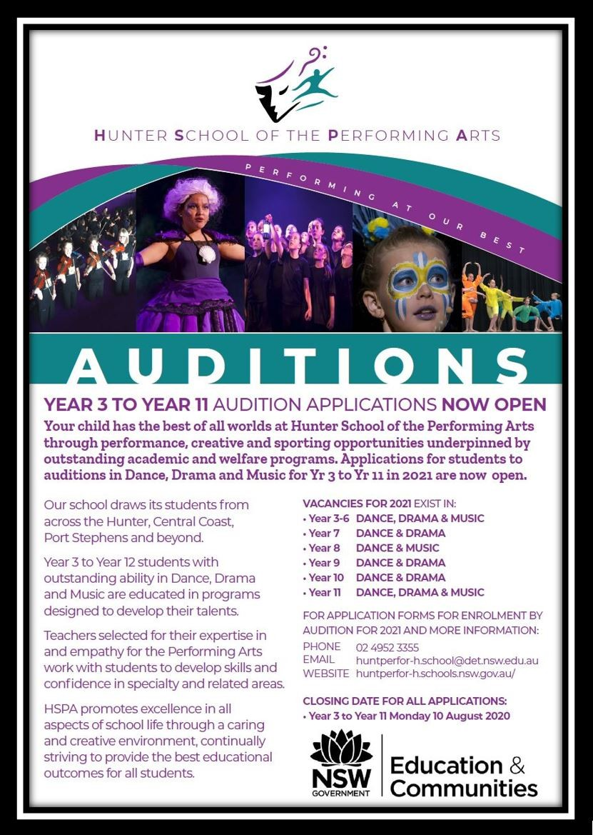 2021 Audition Applications for Y3 to Y12